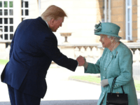 LONDON, ENGLAND - JUNE 03: U.S. President Donald Trump is greeted by Queen Elizabeth II at Buckingham Palace on June 3, 2019 in London, England. President Trump's three-day state visit will include lunch with the Queen, and a State Banquet at Buckingham Palace, as well as business meetings with the …