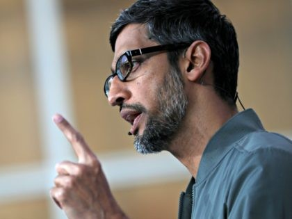 MOUNTAIN VIEW, CALIFORNIA - MAY 07: Google CEO Sundar Pichai delivers the keynote address at the 2019 Google I/O conference at Shoreline Amphitheatre on May 07, 2019 in Mountain View, California. The annual Google I/O Conference runs through May 8. (Photo by Justin Sullivan/Getty Images)