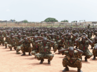 Recruits undergo training at the headquaters of the Depot of the Nigerian Army in Zaria, Kaduna State in northcentral Nigeria, on October 5, 2017. The Nigerian army train recruits to tackle the terror threat of the Islamist group Boko Haram in North East Nigeria. The Boko Haram's Islamist insurgency began …