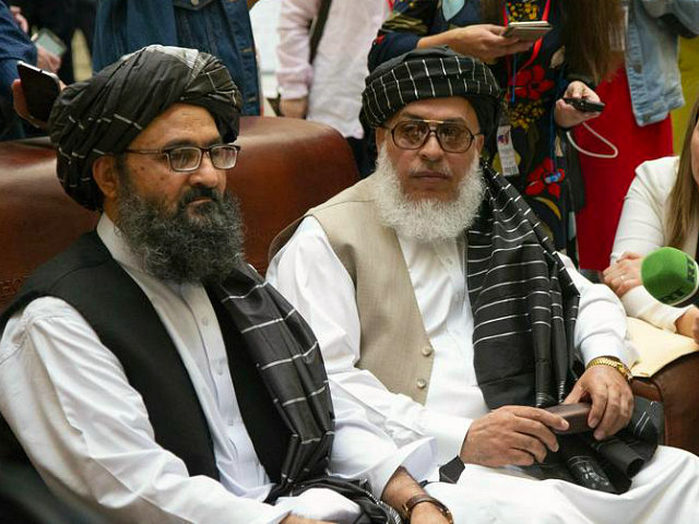 Mullah Abdul Ghani Baradar, the Taliban group's top political leader, left, and Sher Mohammad Abbas Stanikzai, the Taliban's chief negotiator speak to the media Russia, Tuesday, May 28, 2019. Baradar, the Taliban group's top political leader, and a delegation of Taliban are in Moscow where they are meeting other Afghans …