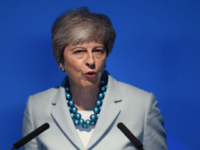 LONDON, ENGLAND - JUNE 10: Britain's Prime Minister Theresa May addresses guests during a speech to mark the start of London Tech Week where she announced that global tech companies plan to invest £1bn in the UK on June 10, 2019 in London, England. Today marks the official beginning of …