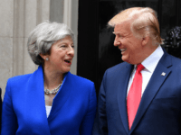 LONDON, ENGLAND - JUNE 04: Prime Minister Theresa May welcomes US President Donald Trump to 10 Downing Street, during the second day of his State Visit on June 4, 2019 in London, England. President Trump's three-day state visit began with lunch with the Queen, followed by a State Banquet at …