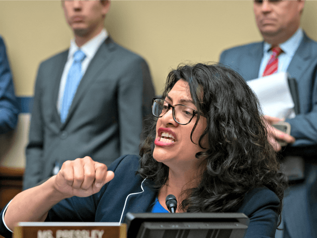 Rep. Rashida Tlaib, D-Mich., makes an impassioned argument against the Trump Administration's proposal to include a citizenship question on the 2020 census, as the panel debates whether to hold Attorney General William Barr and Commerce Secretary Wilbur Ross in contempt for failing to turn over relevant subpoenaed documents, on Capitol …