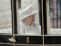 Britain's Queen Elizabeth rides in a carriage to attend the annual Trooping the Colour Ceremony in London, Saturday, June 8, 2019. Trooping the Colour is the Queen's Birthday Parade and one of the nation's most impressive and iconic annual events attended by almost every member of the Royal Family. (AP …