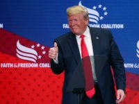 U.S. President Donald Trump gestures to the audience after speaking at the Faith & Freedom Coalition 2019 Road To Majority Policy Conference at the Marriott Wardman Park Hotel, on June 26, 2019 in Washington, DC. (Photo by Mark Wilson/Getty Images)