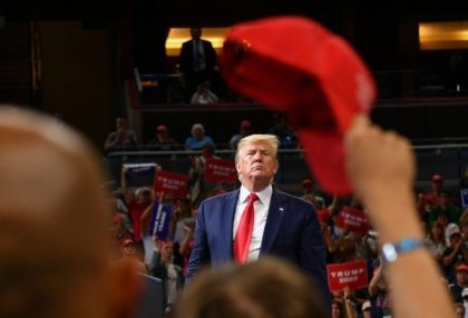 TOPSHOT - US President Donald Trump speaks during a rally at the Amway Center in Orlando, Florida to officially launch his 2020 campaign on June 18, 2019. (Photo by MANDEL NGAN / AFP) (Photo credit should read MANDEL NGAN/AFP/Getty Images)