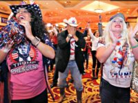 Diana Caldon, from left, Eddie Hamilton and Stephanie Smith celebrate at an election night watch party hosted by the Nevada GOP as Donald Trump wins the presidency Tuesday, Nov. 8, 2016, in Las Vegas. (AP Photo/Ronda Churchill) Diana Caldon, right, embraces Stephanie Smith in celebration at an election night watch …