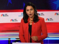 MIAMI, FLORIDA - JUNE 26: Rep. Tulsi Gabbard (D-HI) speaks during the first night of the Democratic presidential debate on June 26, 2019 in Miami, Florida. A field of 20 Democratic presidential candidates was split into two groups of 10 for the first debate of the 2020 election, taking place …