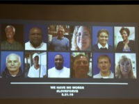 "A slide of the victims in the May 31, 2019 mass shooting at a Virginia, Beach, Virginia, municipal building is shown during a press conference on June 1, 2019. - A municipal employee sprayed gunfire ""indiscriminately"" in a government building complex on May 31, 2019, police said, killing 12 people …"