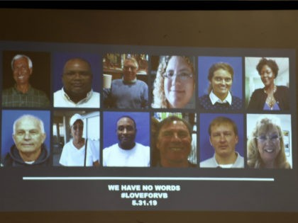"""A slide of the victims in the May 31, 2019 mass shooting at a Virginia, Beach, Virginia, municipal building is shown during a press conference on June 1, 2019. - A municipal employee sprayed gunfire """"indiscriminately"""" in a government building complex on May 31, 2019, police said, killing 12 people …"""