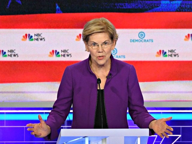 Democratic presidential hopeful US Senator from Massachusetts Elizabeth Warren speaks during the first Democratic primary debate of the 2020 presidential campaign season hosted by NBC News at the Adrienne Arsht Center for the Performing Arts in Miami, Florida, June 26, 2019. (Photo by JIM WATSON / AFP) (Photo credit should …