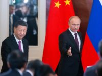 Russian President Vladimir Putin, right, and Chinese President Xi Jinping arrive to attend a signing ceremony following their talks in the Kremlin in Moscow, Russia, Wednesday, June 5, 2019. Chinese President Xi Jinping is on visit to Russia this week and is expected to attend Russia's main economic conference in …
