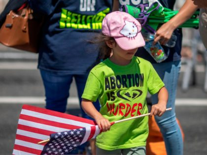 A child with an anti-LGBTQ evangelical Christian group wears an anti-abortion shirt and carries an American flag during the annual LA Pride Parade in West Hollywood, California, on June 9, 2019. - LA Pride began on June 28, 1970, exactly one year after the historic Stonewall Rebellion in New York …
