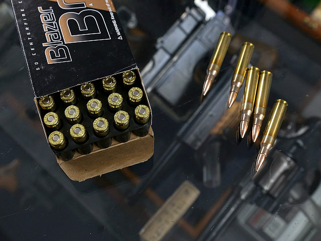 PETALUMA, CA - APRIL 02: A box of 9mm bullets and .223 rifle ammuntion sit on the counter at Sportsmans Arms on April 2, 2013 in Petaluma, California. In the wake of the Newtown, Connecticut school massacare, California State lawmakers are introducing several bills that propose taxing and regulating sales …