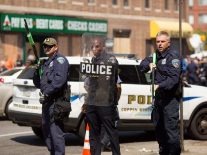 BALTIMORE, MD - MAY 4: Police form a line to block North Ave., near the site of recent riots and several blocks away from where Freddie Gray was arrested last month, May 4, 2015 in Baltimore, Maryland. Initial reports that a man had been shot by police sparked anger in …