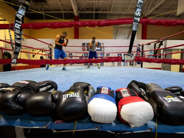 CAROLINA, PUERTO RICO - NOVEMBER 13: (L-R) Boxers Nestor Bravo and Starling Castro shadowbox in the ring at the boxing gym of the German Rieckehoff Sampayo Carolina Sports School on November 13, 2018 in Carolina, Puerto Rico. The effort continues in Puerto Rico to remain and rebuild more than one …