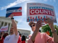Immigration activists rally outside the Supreme Court as the justices hear arguments over the Trump administration's plan to ask about citizenship on the 2020 census, in Washington, Tuesday, April 23, 2019. Critics say the citizenship question on the census will inhibit responses from immigrant-heavy communities that are worried the information …