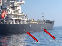 This June 13, 2019, image released by the U.S. military's Central Command, shows damage and a suspected mine on the Kokuka Courageous in the Gulf of Oman near the coast of Iran. The U.S. military on Friday, June 14, 2019, released a video it said showed Iran's Revolutionary Guard removing …