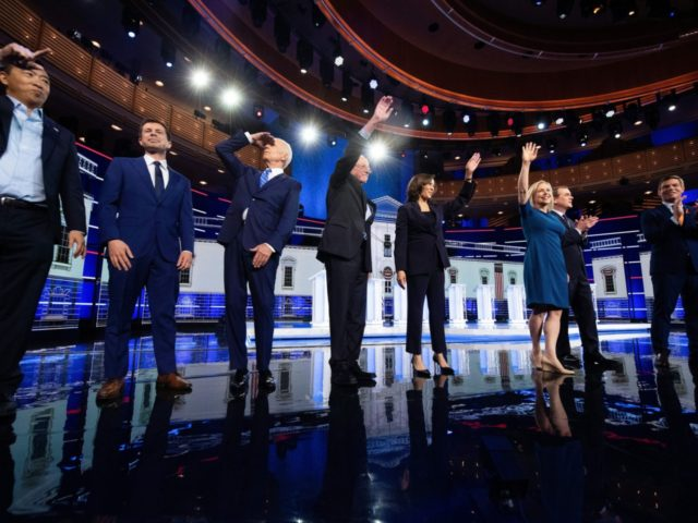 Democratic presidential hopefuls (fromL) US attorney and entrepreneur Andrew Yang, Mayor of South Bend, Indiana Pete Buttigieg, former US Vice President Joseph R. Biden, US Senator for Vermont Bernie Sanders, US Senator for California Kamala Harris, US Senator for New York Kirsten Gillibrand, US Senator for Colorado Michael Bennet, US …