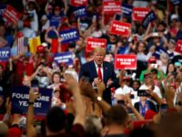 President Donald Trump reacts to the crowd after speaking during his re-election kickoff rally at the Amway Center, Tuesday, June 18, 2019, in Orlando, fla. (AP Photo/Evan Vucci)