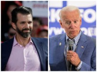 Donald Trump Jr., gestures at a rally for his father, President Donald Trump in Montoursville, Pa., Monday, May 20, 2019. (AP Photo/Matt Rourke) CONCORD, NH - JUNE 04: Former Vice President and Democratic presidential candidate Joe Biden holds a campaign event at the IBEW Local 490 on June 4, 2019 …
