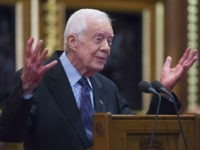 LONDON, ENGLAND - FEBRUARY 3: Former U.S. President Jimmy Carter receives delivers a lecture on the eradication of the Guinea worm, at the House of Lords on February 3, 2016 in London. The lecture, entitled Final Days of the Fiery Serpent: Guinea Worm Eradication, was delivered by President Carter on …