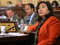 WASHINGTON, DC - OCTOBER 21: House Homeland Security Committee member Rep. Norma Torres (D-CA) questions witnesses during a hearing about worldwide threats to the United States in the Cannon House Office Building on Capitol Hill on October 21, 2015 in Washington, DC. National Counterterrorism Center Director Nicholas Rasmussen, Homeland Security …