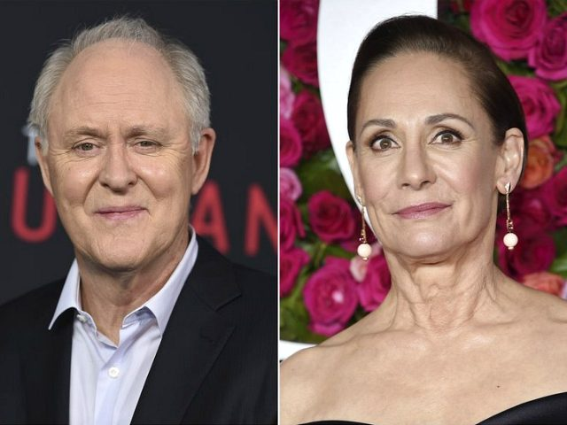 "This combination photo shows John Lithgow at the world premiere of ""The Accountant"" in Los Angeles on Oct. 10, 2016, left, and Laurie Metcalf at the Tony Awards in New York on June 10, 2018. Metcalf and Lithgow are poised to star as Hillary Clinton and former President Bill Clinton …"