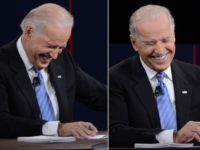 A combination picture shows the US Vice President Joe Biden's reactions during his vice presidential debate with Republican vice presidential candidate Paul Ryan at the Norton Center at Centre College in Danville, Kentucky, October 11, 2012, moderated by Martha Raddatz of ABC News. AFP PHOTO / Saul LOEB (Photo credit …