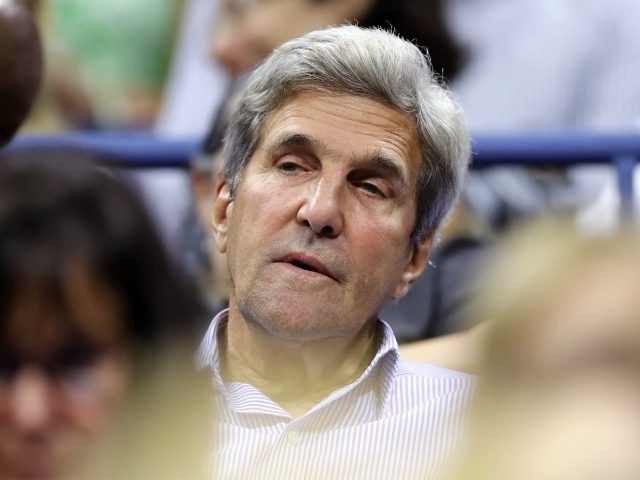 NEW YORK, NY - SEPTEMBER 05: Former United States Secretary of State John Kerry looks on during the Women's Singles Quarterfinal match between Venus Williams of the United States and Petra Kvitova of Czech Republic on Day Nine of the 2017 US Open at the USTA Billie Jean King National …