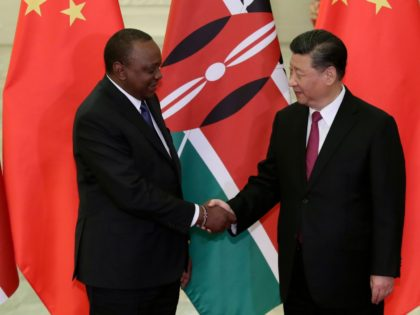BEIJING, CHINA - APRIL 25: Kenyan President Uhuru Kenyatta, left, shakes hands with Chinese President Xi Jinping, right, before the meeting at the Great Hall of People in Beijing, China on April 25, 2019. (Photo by Kenzaburo Fukuhara/Kyodo News - Pool/Getty Images)