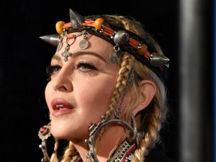 Madonna poses in the press room at the 2018 MTV Video Music Awards at Radio City Music Hall on August 20, 2018 in New York City. (Photo by ANGELA WEISS / AFP) (Photo credit should read ANGELA WEISS/AFP/Getty Images)