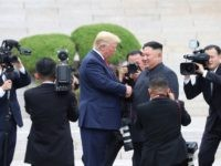 PANMUNJOM, SOUTH KOREA - JUNE 30 (SOUTH KOREA OUT): A handout photo provided by Dong-A Ilbo of North Korean leader Kim Jong Un and U.S. President Donald Trump inside the demilitarized zone (DMZ) separating the South and North Korea on June 30, 2019 in Panmunjom, South Korea. U.S. President Donald …