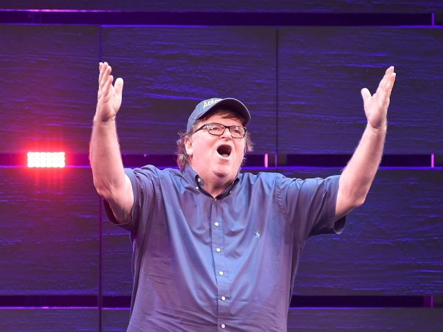 "NEW YORK, NY - AUGUST 10: Michael Moore speaks onstage during ""The Terms Of My Surrender"" Broadway Opening Night at Belasco Theatre on August 10, 2017 in New York City. (Photo by Mike Coppola/Getty Images)"