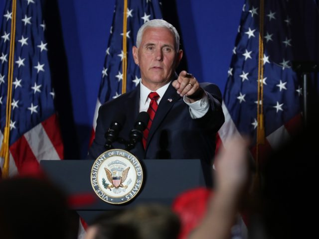 MIAMI, FLORIDA - JUNE 25: US Vice President Mike Pence speaks during the Donald J. Trump for President Latino Coalition Rollout at the DoubleTree by Hilton Hotel Miami Airport & Convention Center on June 25, 2019 in Miami, Florida. The Trump campaign is making an effort to engage Latino voters …