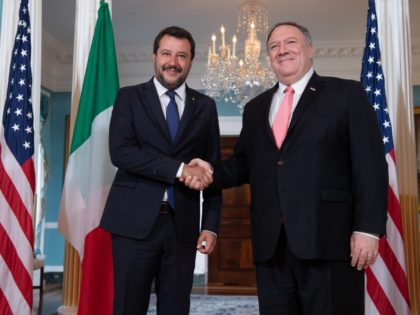 US Secretary of State Mike Pompeo (R) greets Italian Interior Minister Matteo Salvini prior to talks at the State Department in Washington, DC, on June 17, 2019. (Photo by NICHOLAS KAMM / AFP) (Photo credit should read NICHOLAS KAMM/AFP/Getty Images)