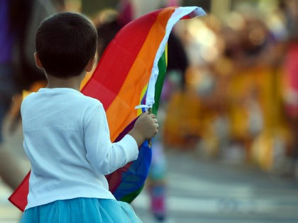 "A child waves a rainbow flag during the WorldPride 2017 parade in Madrid on July 1, 2017. Revellers took to the rainbow streets of Madrid today in the world's biggest march for gay, lesbian, bisexual and transgender rights. Carried along by the slogan ""Viva la vida!"" (Live life!), the parade …"