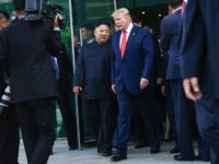 North Korea's leader Kim Jong Un (centre L) and US President Donald Trump walk following a meeting on the south side of the Military Demarcation Line that divides North and South Korea, in the Joint Security Area (JSA) of Panmunjom in the Demilitarized zone (DMZ) on June 30, 2019. (Photo …
