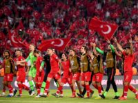 TOPSHOT - Turkey's team players celebrate at the end of the Euro 2020 football qualification match between Turkey and France at the Buyuksehir Belediyesi stadium in Konya, on June 8, 2019. (Photo by FRANCK FIFE / AFP) (Photo credit should read FRANCK FIFE/AFP/Getty Images)