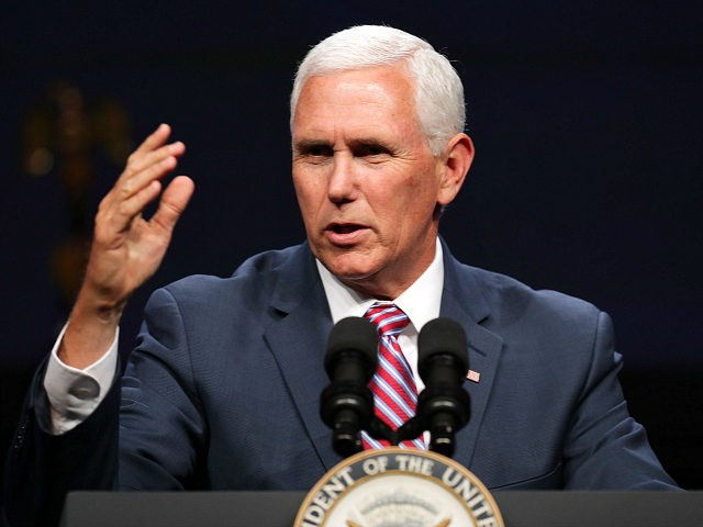 WASHINGTON, DC - MAY 06: U.S. Vice President Mike Pence delivers a keynote address during Access Intelligence's Satellite 2019 Conference and Exhibition at the Walter E. Washington Convention Center May 06, 2019 in Washington, DC. A marketing, events and business intelligence company that serves the energy, chemical, defense, cable, aviation, …