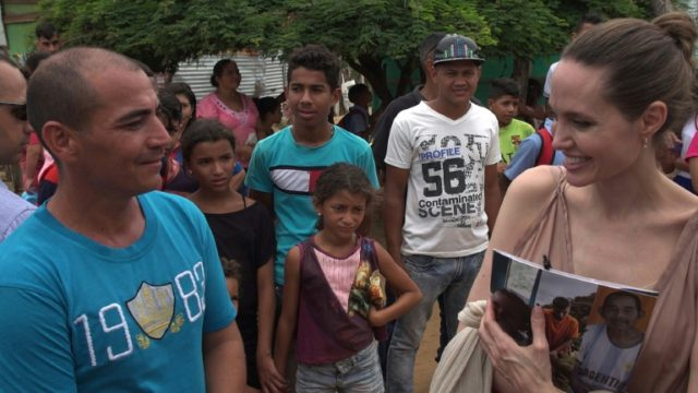 American actress Angelina Jolie, the UN special envoy for refugees, is seen meeting with Venezuelan refugees in the Colombian town of Riohacha in June 2019