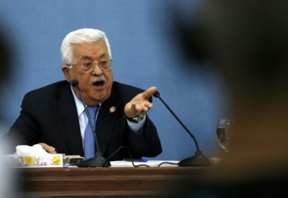 Palestinian president Mahmud Abbas speaks during a meeting with journalists in the occupied West Bank town of Ramallah on June 23, 2019