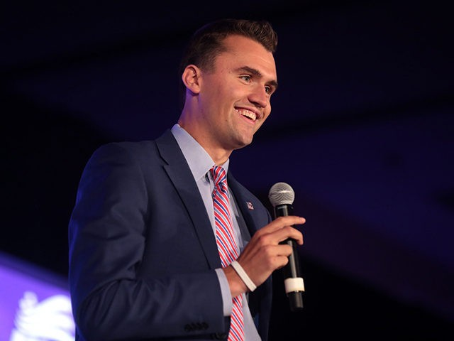Charlie Kirk speaking with attendees at the 2018 Young Women's Leadership Summit hosted by Turning Point USA at the Hyatt Regency DFW Hotel in Dallas, Texas.