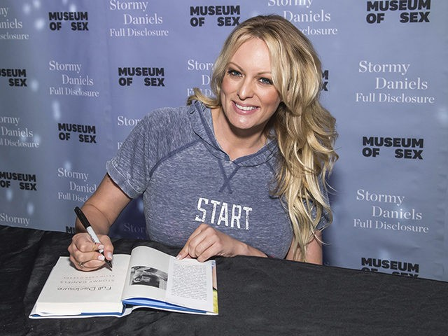"Adult film actress Stormy Daniels attends a book signing for her memoir ""Full Disclosure"" at the Museum of Sex on Monday, Oct. 8, 2018. (Photo by Charles Sykes/Invision/AP)"