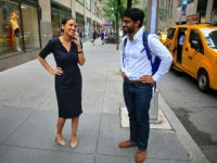 "Alexandria Ocasio-Cortez, left, the winner of the Democratic primary in New York's 14th Congressional District, speaks on a phone as Saikat Chakrabarti, her senior campaign adviser stands by, Wednesday, June 27, 2018, in New York. The 28-year-old political newcomer upset U.S. Rep. Joe Crowley, says she brings an ""urgency"" to …"