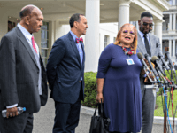 Alveda King, second from right, niece of civil rights leader Martin Luther King Jr. together with other religious leaders, from left, Rev. Bill Owens, Rev. Dean Nelson and Bishop Harry Jackson, speaks to reporters following a meeting with President Donald Trump at the White House in Washington, Monday, July 29, …