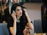 NEW YORK, NY - APRIL 23: Human rights lawyer Amal Clooney attends a United Nations Security Council meeting at U.N. headquarters, April 23, 2019 in New York City. Member nations of the Security Council are considering a resolution concerning sexual violence in conflict, which would classify rape as a weapon …