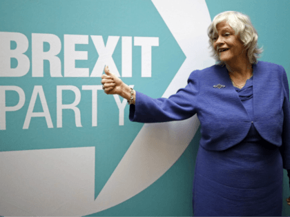 Former Conservative party MP and Brexit Party MEP Ann Widdecombe gestures in front of a Brexit Party sign at a post-European Parliament election press call in London, on May 27, 2019. - Anti-EU populist Nigel Farage's Brexit Party triumphed in European Parliament elections that Britain was never meant to hold, …