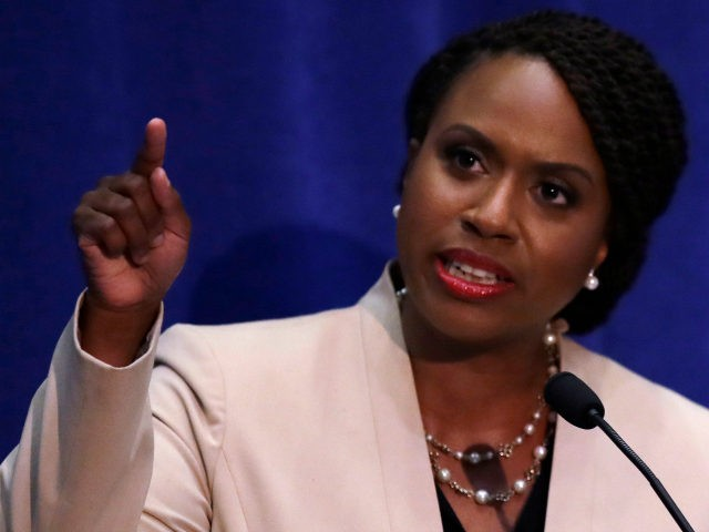 Boston City Councilor Ayanna Pressley, who is challenging incumbent U.S. Rep. Michael Capuano, D-Mass., during a debate at the University of Massachusetts, in Boston, Tuesday, Aug. 7, 2018. (AP Photo/Charles Krupa)