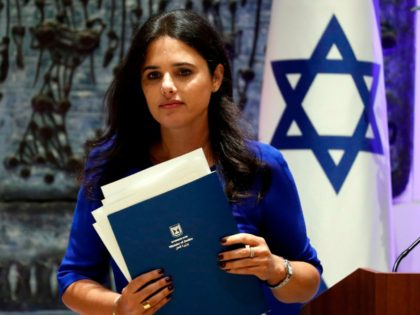 Israeli Justice minister Ayelet Shaked delivers a speech during the swearing-in ceremony for the incoming Israeli president of the Supreme Court, Esther Hayut, at the Israeli Presidential residence in Jerusalem on October 26, 2017. / AFP PHOTO / THOMAS COEX (Photo credit should read THOMAS COEX/AFP/Getty Images)
